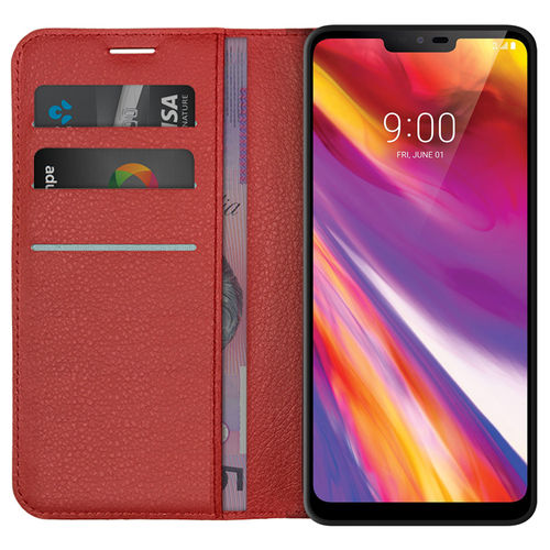 Leather Wallet Case & Card Slot Holder Pouch for LG V40 ThinQ (Red)